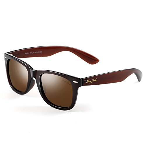 GREY JACK Classic Polarized Retro Square Horn Rimmed Design Sunglasses for Men Women Brown