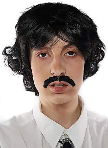 Pedro Costume Wig Black Wigs & Mustache 70s Shag Beatles Sonny Costumes Mens Boys Adult
