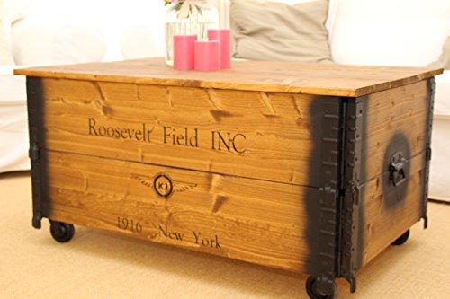 """Couchtisch Truhe auf Rollen """"Roosevelt Field"""" aus Nussbaum, 100x58x51cm - 4"""