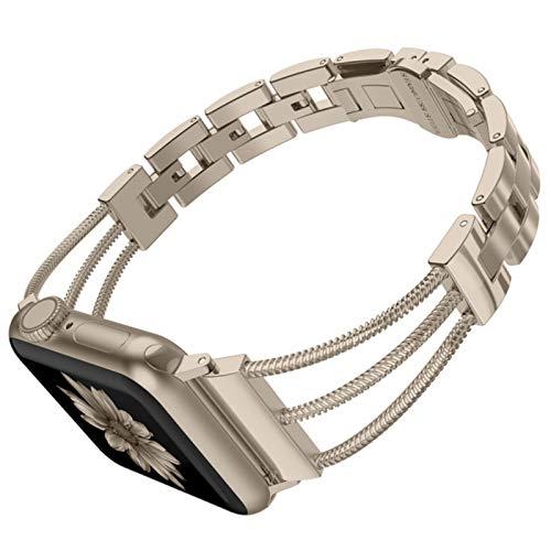 Bandas de acero inoxidable para mujer para Apple Watch Correa de eslabones de extracción de pulsera para mujer con hebilla de joyería para iWatch Series 5 4 3 2 1