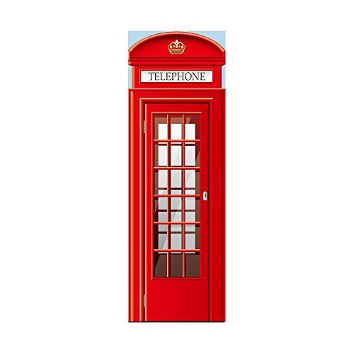 DEENLI Adesivi per Frigorifero,Adesivo Decorativo per Porta del Frigorifero,Cucina Ristorante Cabina Telefonica Rossa