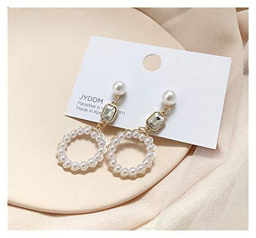 SSN Love Pearl Earrings Female Long Temperament Personality Tassel Earrings Design Sense Rhinestone Circle Earrings (Color : B)