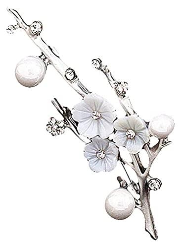 Lzpzz Broches para mujer, diseño retro, con forma de flor de ciruelo, accesorios para ropa, color plateado