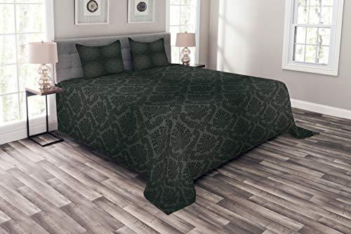ABAKUHAUS Dunkelgrau Tagesdecke Set, Alte Damast-Motive, Set mit Kissenbezügen luftdurchlässig, für Doppelbetten 220 x 220 cm, Schwarz Grauen