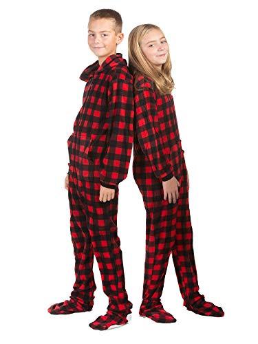 BIG FEET PAJAMA CO. Hoodie Footed Onesie Buffalo Rot & Schwarz Karierter Pyjama mit Fleecefüßen für Jungen und Mädchen
