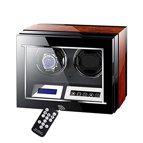AMAFS Caja enrolladora de Reloj automática Doble Motor silencioso con Pantalla Digital LCD táctil 5 Modos de rotación Pintura de Piano + Madera Festival