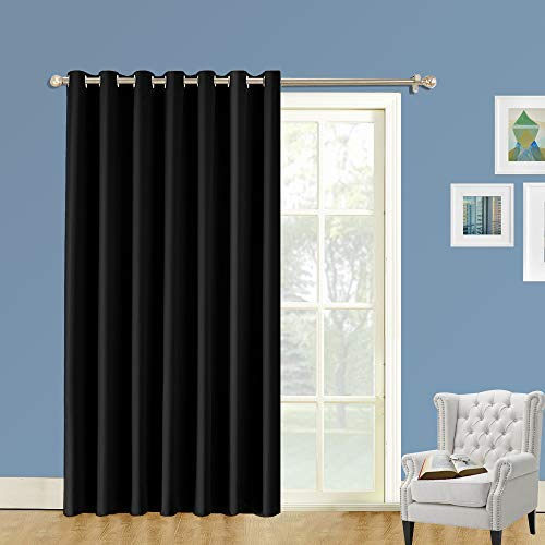 LIFONDER Blackout Sliding Door Curtains - Extra Wide Ring Top Living Room Blinds Large Size Thermal Insulated Patio Door Window Treatments/Drapes/Panels, 120 x 96 Inches, Black, One Piece