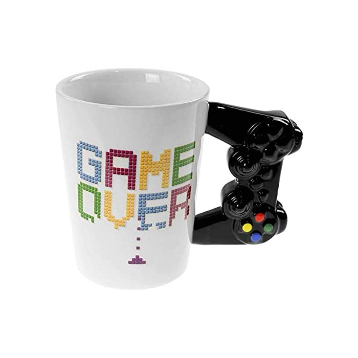 """41THFQKMwbL Texto """"Game Over"""". Mango con forma de mando. Tamaño del producto de 11 x 9 cm."""