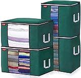 JOYXEON Bolsa de Almacenamiento de Ropa de Gran Capacidad, 4PCS Organizador de Transpirable con Asa Reforzada para Edredones Mantas 60x40x35cm y 50x50x36cm (Verde Oscuro)