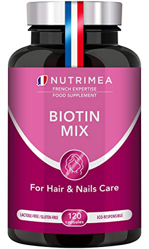 Biotin Hair Growth Supplement - Enriched with Zinc & Selenium - Vitamins for Longer, Stronger and Thicker Hair and Nails - Contributes to Skin Care - French Expertise