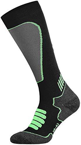 Tobeni Sport Kompressionsstrümpfe Lang Biking- Running- Skiing- Socken für Frauen und Männer Farbe Schwarz-Neon-Grün Grösse 39-42