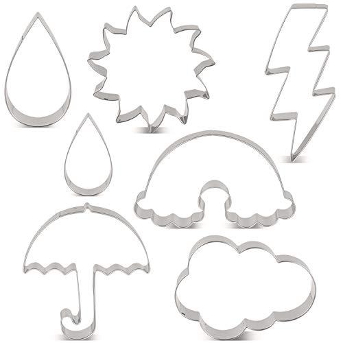 KENIAO Wetter Ausstechformen Set - 7 Stück - Blitz, Sonne, Regenbogen, Wolke, Regentropfen und Regenschirm Fondant Brot Ausstecher Keksausstecher - Edelstahl