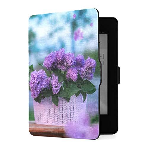 Funda para Kindle Paperwhite 1 2 3, Canasta para Perros, Flores Lila, Hermosa Funda de Piel sintética con Smart Auto Wake Sleep para Amazon Kindle Paperwhite