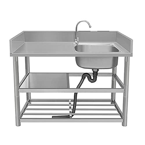 Fregadero de cocina comercial, estante de almacenamiento de tres niveles de un solo lavabo de acero inoxidable para interiores y exteriores, con portacuchillos grifo de agua fría y caliente/A