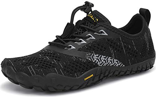SAGUARO Barefoot Zapatillas de Trail Running Niños Niñas Minimalistas Zapatos de Deporte Antideslizantes Calzado Descalzos para Fitness Caminar Correr en Asfalto Montaña Senderismo Agua, Negro, 25 EU