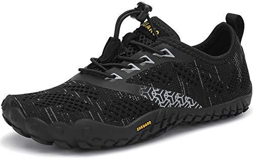 SAGUARO Kinder Barfußschuhe Traillaufschuhe JungenMädchen Trainingsschuhe Zehenschuhe Atmungsaktiv rutschfest Walkingschuhe Laufschuhe Schnell Trocknend Badeschuhe, Schwarz 36 EU