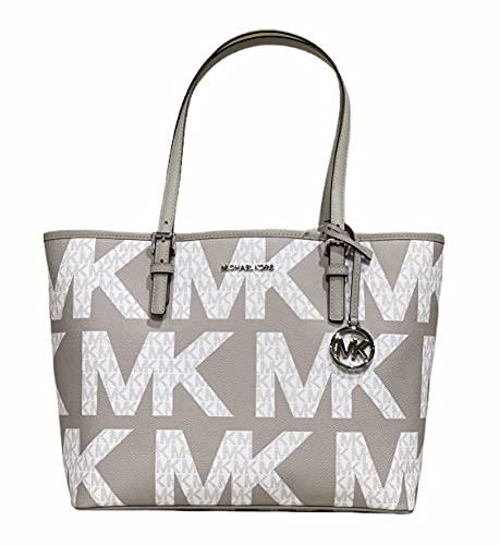 Michael Kors Jet Set Travel Medium Carryall Tote Graphic Logo White MK Pearl Grey