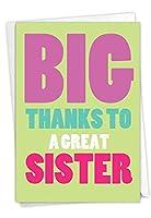 NobleWorks、Great Sister - 面白い姉妹ありがとうグリーティングカード 封筒付き - C3237SXG