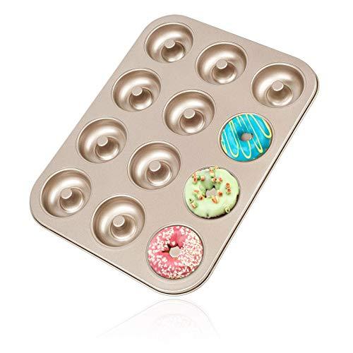 PHABULS Mini Donut Pan for Baking 12 Cavity Carbon Steel NonStick Coating MoldGold 1PCS