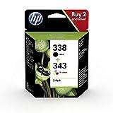 HP 338-343 SD449EE, Negro y Tricolor, Cartucho Original, Pack de 2, para impresoras HP DeskJet serie 6500, 5700; Photosmart serie 3100, 2700, 8700 y OfficeJet serie 7400, 7200