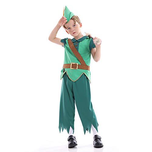 Avsvcb Cosplay Disfraz de Navidad para niños Robin Hood Arquero Regalo de Novedad de Halloween Disfraz de Cazador Disfraz de Príncipe del Bosque