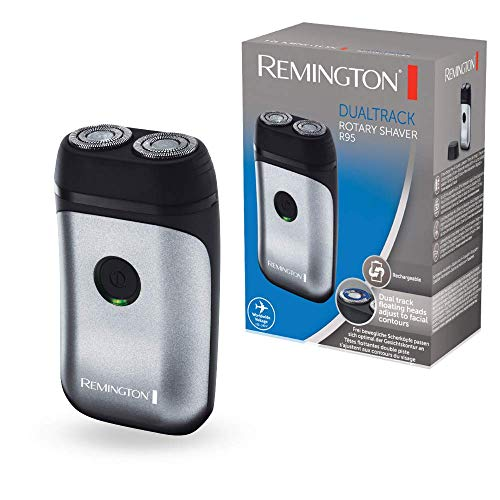 Remington Dualtrack R95 – Afeitadora Rotativa de Viaje, 2 Cabezales, Cuchillas Inox, Gris y Negro, Recargable, Ligera