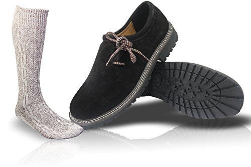 ALL THE GOOD Trachten Schwarz Schuhe + Trachtensocken socken Haferlschuhe Almhaferl Trachtenschuhe SB01 (40)
