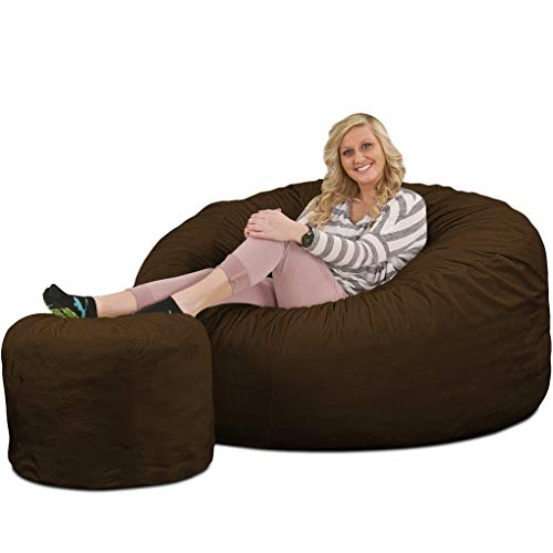 ULTIMATE SACK Bean Bag Chair w/Foot Stool in Multiple Sizes and Colors: Giant Foam-Filled Furniture - Machine Washable Covers, Double Stitched Seams, Durable Inner Liner. (Brown Suede, 5000)