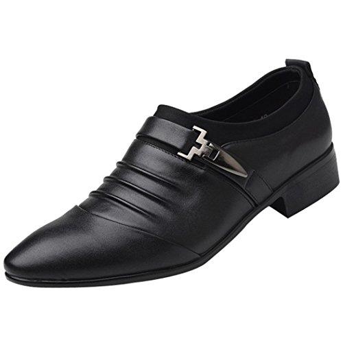 PLOT Lederschuhe Herren,Herren PU Leder Business Anzug Schuhe Atmungsaktiv Oxford Slipper für Party Hochzeit Freizeit Schuhe 37-46 (41 EU, Schwarz)