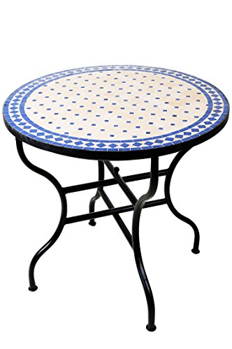 ORIGINAL Marokkanischer Mosaiktisch Gartentisch ø 80cm Groß rund klappbar | Runder klappbarer Mosaik Esstisch Mediterran | als Klapptisch für Balkon oder Garten | Marrakesch Natur Blau 80cm