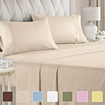 California King Size Sheet Set – 4 Piece - Hotel Luxury Bed - Extra Soft - Deep Pockets - Breathable & Cooling - Wrinkle Free - Comfy – Beige Tan Sheets - Cali Kings Sheets Beige Tan 4PC