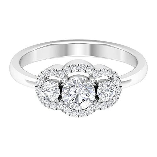 Anillo de halo de diamante de 1 quilate, Anillos de Pasado Presente Futuro para Mujer (5 mm, punta redonda de diamante), 14K Oro blanco, Size:EU 50