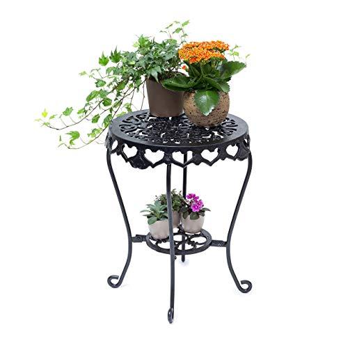 Relaxdays bloemenkruk rond maat L van gietijzer HBT bloemenstandaard met 2 planken bijzettafel voor bloemen en decoratie in huis en tuin kruk voor planten Large zwart