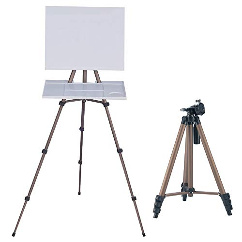 MEEDEN Artist Watercolor Field Easel Portable Easel, Aluminum Lightweight Adjustable Height 17 to 65 Inch for Watercolors, Sturdy Tripod for Tabletop/Floor Painting, Drawing and Display