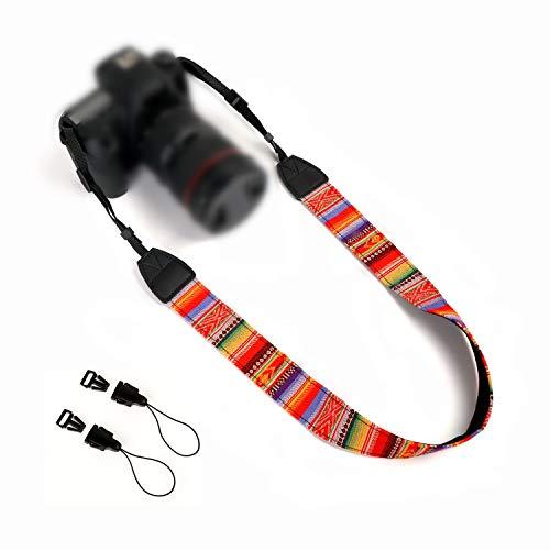 WANBY Cámara Lienzo Cuello Hombro Correa de la cámara con hebillas de liberación rápida Vintage Print Correas de cámara coloridas y suaves para mujeres Hombres Todas las cámaras DSLR SLR (Arcoiris)