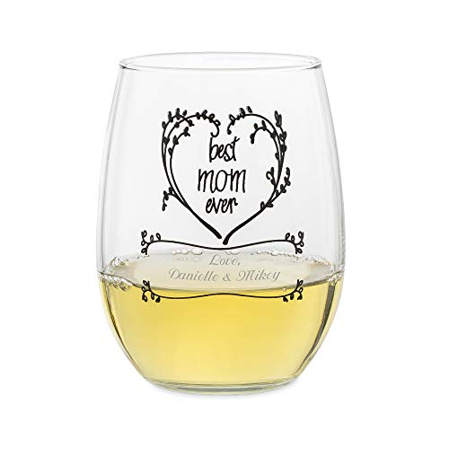 Things Remembered Personalized Best Mom Heart 15 OZ. Stemless Wine Glass with Engraving Included