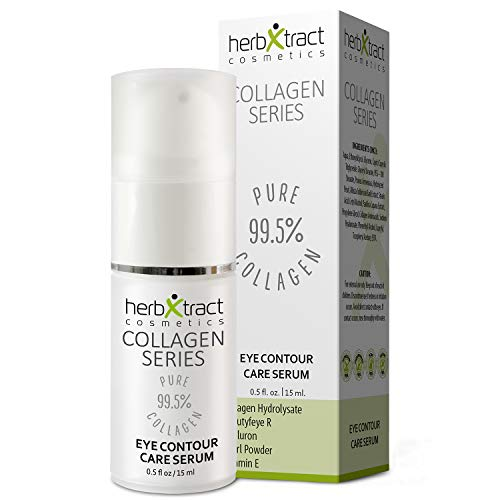 Eye Contour Care Serum by HerbXtract. Anti Aging Eye Cream for Upper Eyelid Lift, Dark Circles. Eye Treatment Product with Collagen, Hyaluronic Acid, BeautyfeyeR and Pearl Powder, 0.5 Fluid Ounces