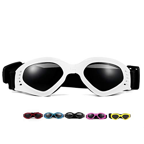 Vevins Dog Goggles Sunglasses UV Protective Foldable Pet Sunglasses Adjustable Waterproof Eyewear for Cat Dog (White)