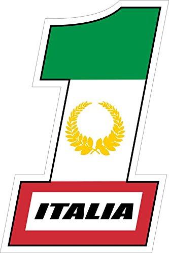 Autocollant sticker voiture moto scooter course # 1 numero un uno italia italie
