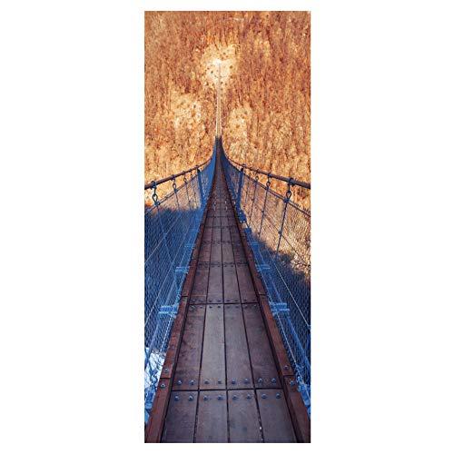 Zkamang Puertas Adhesivas de Puerta de Puente de suspensión de Madera de Hierro, Pegatinas de decoración de cañón de Puente de Cuerda 3D, Parche de Pared DIY 45cm x 200cm x 2 Piezas