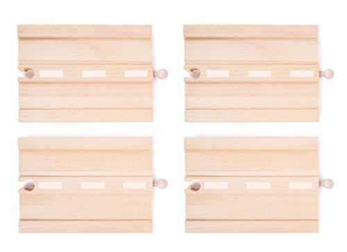 small foot 10807 World Straßen-Set natürlichem Holz, Vier Geraden, kompatibel mit Allen gängigen Holzeisenbahnen
