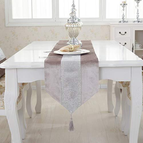 Matedepreso moderno runner da tavolo – Durevole, in poliestere, flannella, strass, vero runner lavabile, centrotavola, decorazione per la casa (32 180 cm grigio), champagne, 32 180cm