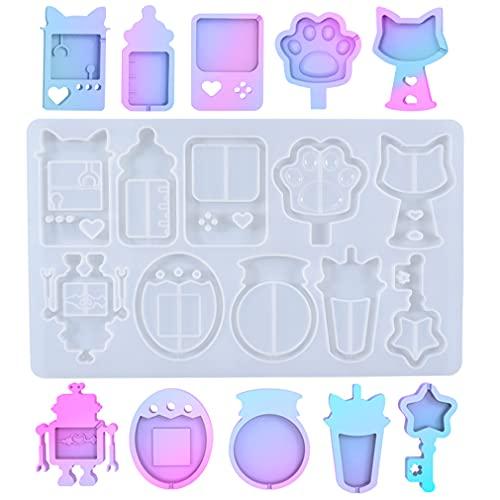 iSuperb シャカシャカチャーム シェイカーモールド 流砂 哺乳瓶 猫耳 ロボット 10種類 DIYモールド シリコンモールド (流砂型)