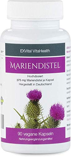Mariendistel - EXVital VitaHealth - 80% Silymarin Anteil, hoch konzentriert, 90 vegane Kapseln in deutscher Premiumqualiät, kein Magnesiumstearat und 100% vegan, 1er Pack (1x54g)