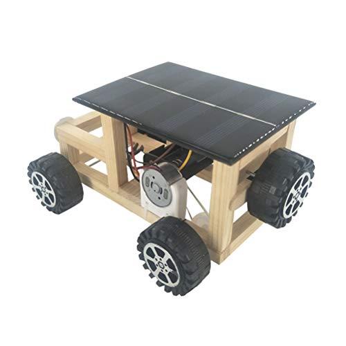 STOBOK DIY Holz Montage Solarbetriebene Auto Modell Kit Kinder Lustige Handgemachte Technologie Wissenschaftliche Lernspielzeug (Zufällige Farbe)