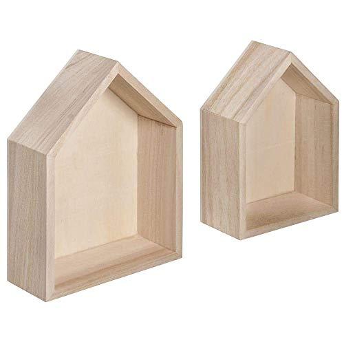 Rayher 62696000 Holz Rahmen-Häuser, 2 Stück, FSC Mix Credit, 14 x 10 x 4 cm + 12,5 x 8,5 cm, zum DIY Gestalten