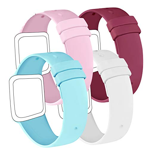 AK Confezione 4 Cinturino Compatibile per Apple Watch Cinturino 44 mm 38 mm 42 mm 40 mm, Cinturino in Silicone Morbido per Apple Watch Series 5 4 3 2 1 (38/40mm S/M, Azzurro/Bianco/Vino Rosso/Rosa)