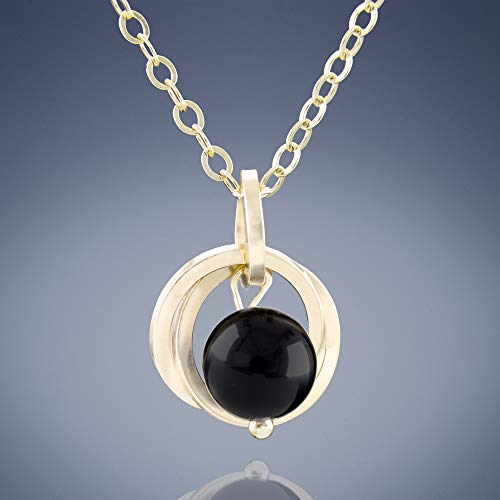 """Dainty Real Black Onyx Pendant Necklace with 14k Gold-filled Circles Simple Jewelry Gift Idea for Women - 18"""""""
