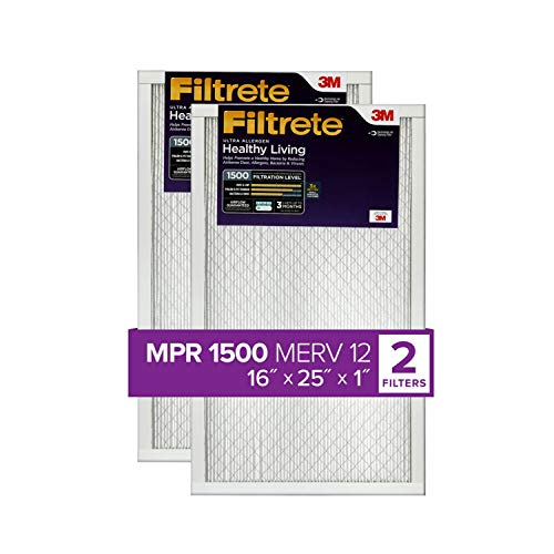 Filtrete 16x25x1, AC Furnace Air Filter, MPR 1500, Healthy Living Ultra Allergen, 2-Pack (exact dimensions 15.69 x 24.69 x 0.78)