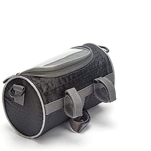 HXSAF Bolsa de Manillar de Bicicleta: Bolsa de Cabeza a Prueba de Agua, Bolsa de Cabeza, pequeña y Grande, Bolsa de Almacenamiento con Bolsa Transparente y Correa de Hombro Ajustable (Colore : Black)